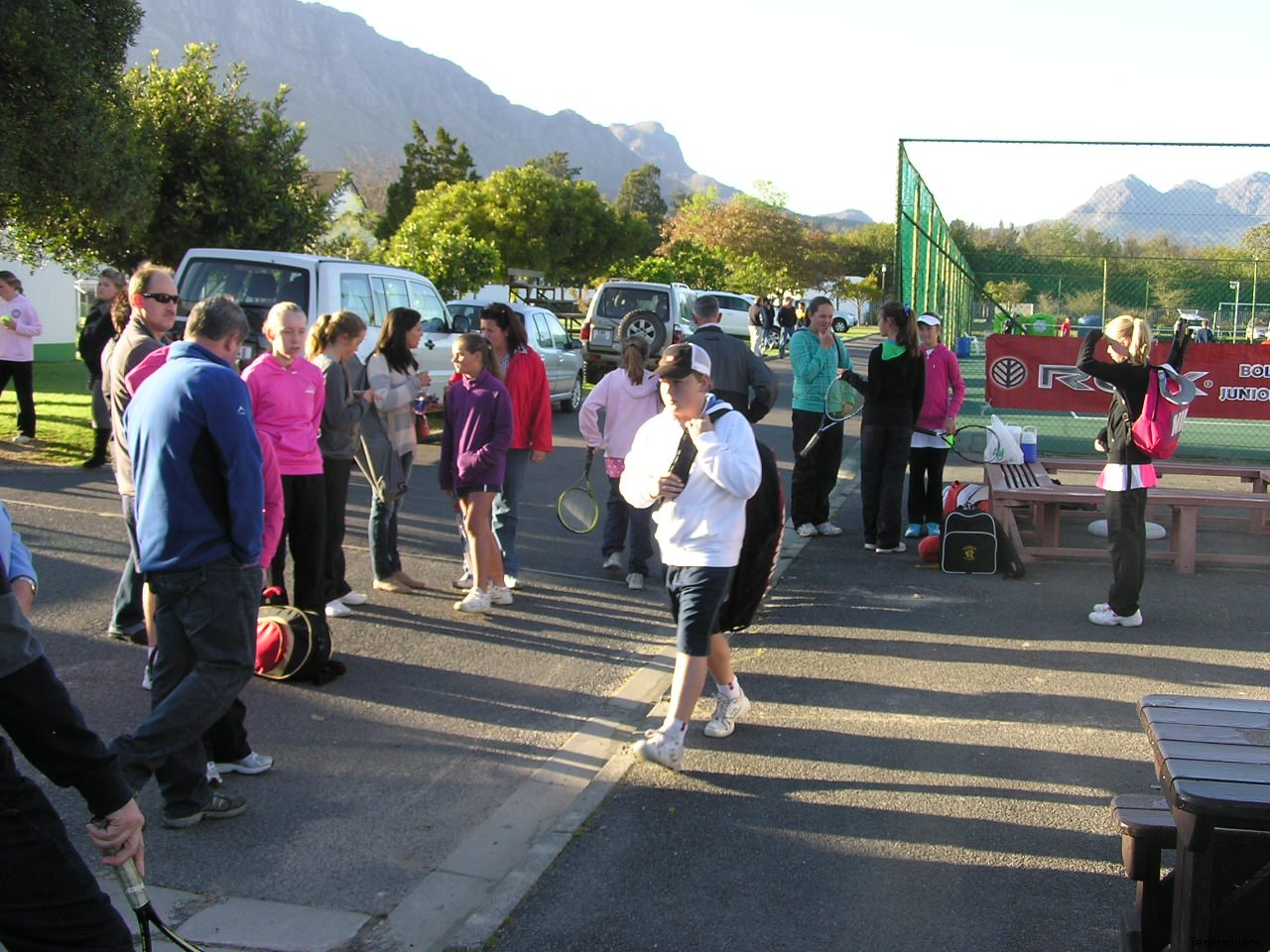 Parent and players before play starts at 08h00